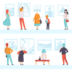 People of different ages looking at the pictures hanging on the wall, exhibition visitors viewing museum exhibits at art gallery, back view vector Illustration on a white background