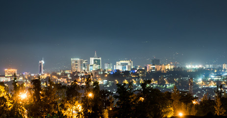 A wide view of Kigali city skyline lit up at night