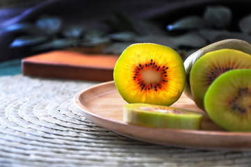 Close up Texture of Red Kiwifruit on Plate