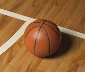 Basketball Ball on a Court