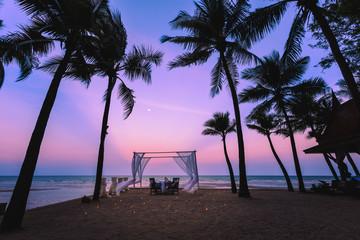 twilight landscape silhouette coconut blue sky and the sea