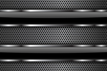 Metal perforated background with black glass elements