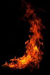 red and orange burning fire flames on black background.