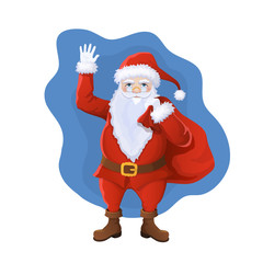 Vector illustration. Full-length Santa Claus holds a bag with gifts in his hand and waves his hand. Symbol of Christmas and New Year cartoon style. Isolated on white background
