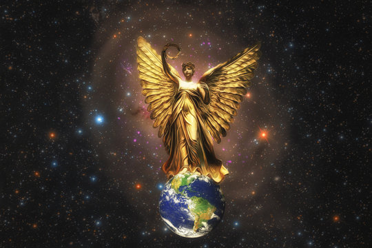 Illustration Fantasy Art of A Beautiful Golden Angel Spreads Her Wings over The Globe with Universe and Stars Background, Elements of The Globe and Universe furnished by NASA