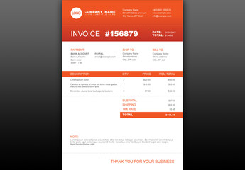 Invoice Layout with Orange Accents