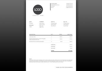 Black and White Invoice Layout