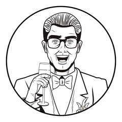 Pop art groom cartoon