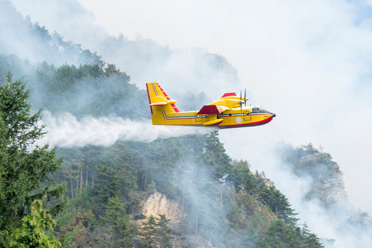 Water bomber aircraft Canadair.  A yellow airplane of the Fire Brigade flying over a wildfire in a pine forest.