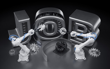 """Robotics Job. Industrial robotic manipulators, assemling word of JOB from mechanical parts. 3d rendering graphic composition on the theme of """"Robotization""""."""