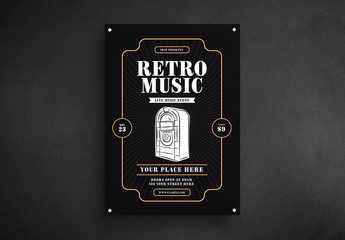 Retro Music Flyer Layout with Jukebox Illustration