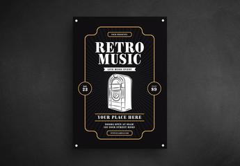 Retro Music Flyer Layout with Jukebox Illustration