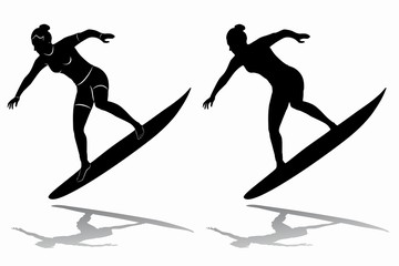 silhouette of surfer woman, vector draw
