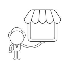 Vector illustration of businessman character holding shop store. Black outline.