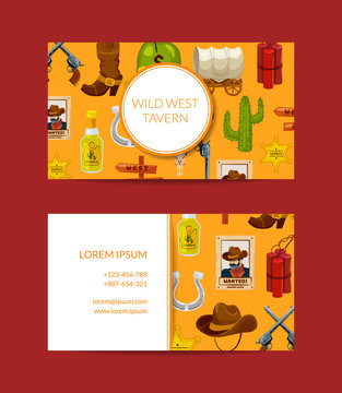 Vector cartoon wild west elements business card template for bar illustration