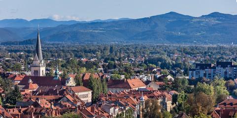 Old part of Ljubljana and Ljubljana moor with mountain Krim in background, Slovenia
