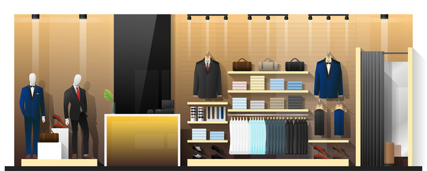 Interior scene of men clothing store , vector , illustration