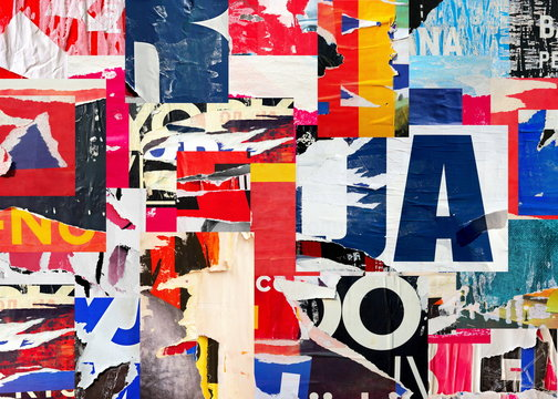Collage ripped torn posters grunge creased crumpled paper texture background placard backdrop surface / High quality image dense pixel