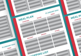 Meal Planner Layout with Red Sidebar