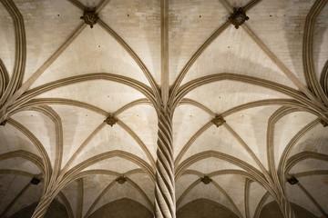 La Llotja gothic vaulted ceiling interior in Palma de Mallorca, Balearic islands, Spain