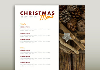 Christmas Menu Layout with Pinecone Illustrations