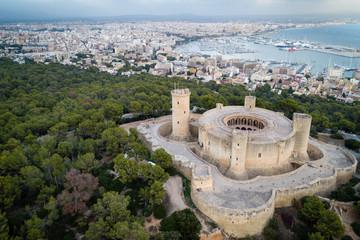Fotorolgordijn Kasteel Aerial view of Bellver castle - medieval fortress in Palma de Mallorca, Balearic Islands, Spain