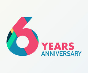 6 years anniversary emblem. Anniversary icon or label. 6 years celebration and congratulation design element.