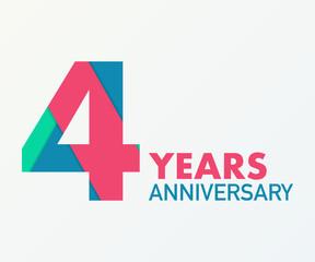 Fototapeta 4 years anniversary emblem. Anniversary icon or label. 4 years celebration and congratulation design element. obraz