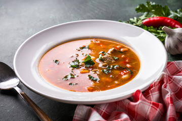 Traditional Hungarian goulash soup on the table.