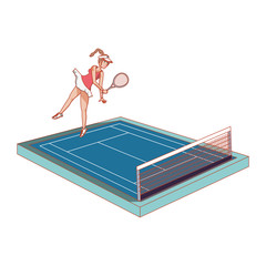 woman practicing tennis in court