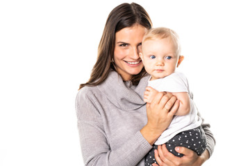 A mother holdng his baby on studio white background