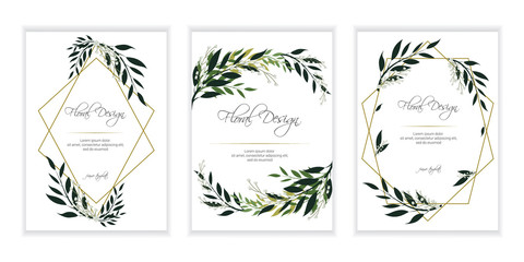 Banner on flower background. Flyer for   wedding  invitation. Natural botanical Greeting editable template. Geometrical golden Frame, border