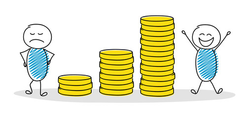 Business illustration showing cartoon stickmen with money graph. Vector.