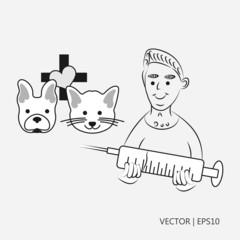 Vector illustration. Vet with syringe. Dog and cat: flat design. Logo for the vet. Sketch. Drawing for children. Flat icon