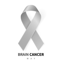 Brain Cancer Awareness Month. Realistic Grey ribbon symbol. Medical Design. Vector illustration