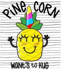 cute cartoon pineapple character on the black stripes