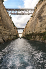 Passing through the Corinth Canal on a yacht.