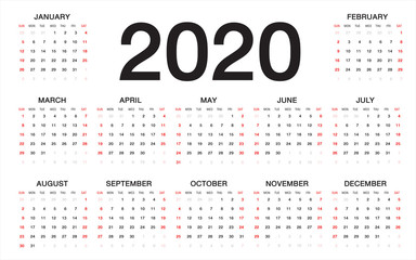 calendar 2020, Week starts from Sunday, business template