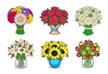 A Collection Set Of Flower Vector Illustrations (Virtual Gifts): Roses, Daisies, Gerberas, Lilies, Sunflowers, Tulips