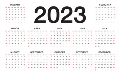 calendar 2023, Week starts from Sunday, business template