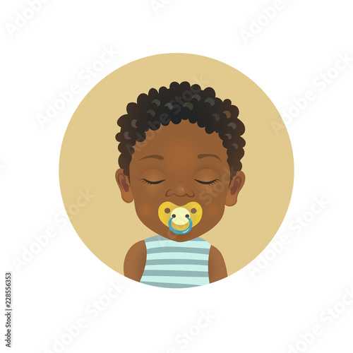 Cute Afro American baby sleeping with a soother emoticon  Sleepy