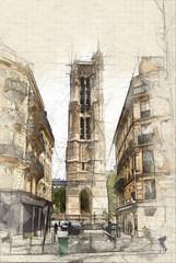 Sketch Tour Saint Jacques in Paris