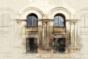 Traditional architecture sketch