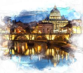 Illustration of Saint Peter Basilica in Rome