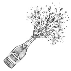 Vector illustration of hand drawing champagne bottle with splash