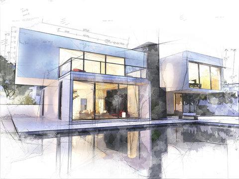 Modern architecture sketch