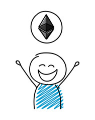 Cartoon character showing cryptocurrency icon - etherum. Vector.