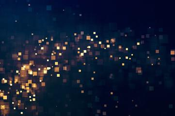 Glitter lights abstract sparkle squares background. Defocused bokeh dark. Illustration
