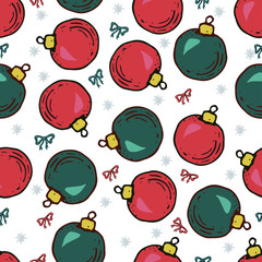 Seamless pattern with christmas balls and bow
