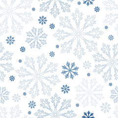 Christmas seamless snowflakes background. Winter bright snowflake pattern.